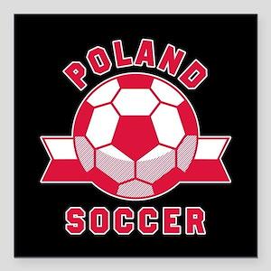 "Poland Soccer Square Car Magnet 3"" x 3"""