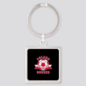 Poland Soccer Square Keychain