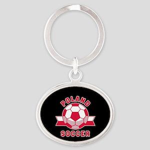Poland Soccer Oval Keychain