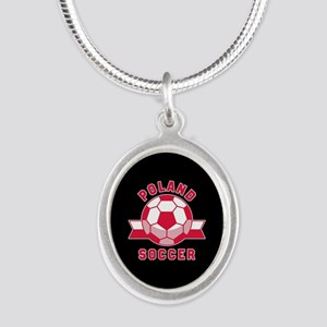 Poland Soccer Silver Oval Necklace