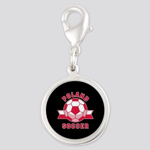 Poland Soccer Silver Round Charm