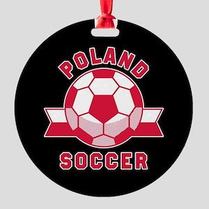 Poland Soccer Round Ornament