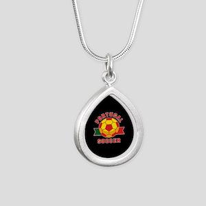 Portugal Soccer Silver Teardrop Necklace
