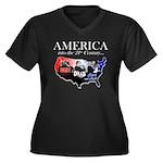 21st Century America Women's Plus Size V-Neck Dark