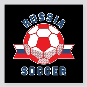 "Russia Soccer Square Car Magnet 3"" x 3"""