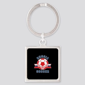 Russia Soccer Square Keychain