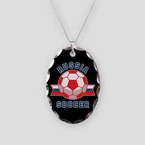 Russia Soccer Necklace Oval Charm