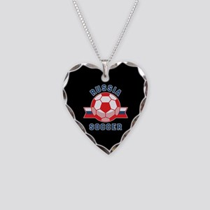 Russia Soccer Necklace Heart Charm