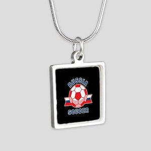 Russia Soccer Silver Square Necklace