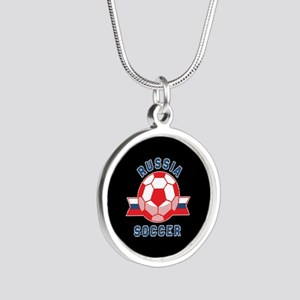 Russia Soccer Silver Round Necklace