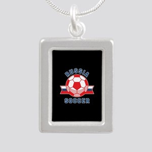 Russia Soccer Silver Portrait Necklace