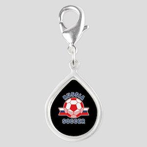 Russia Soccer Silver Teardrop Charm