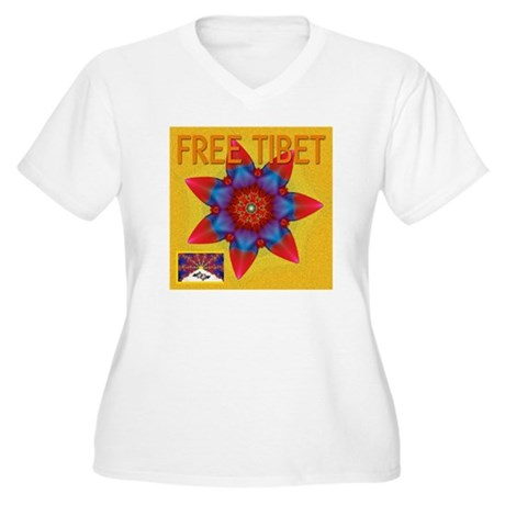 Fractal free Tibet Women's Plus Size V-Neck T-Shir