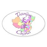 Tianjin China Map Oval Sticker (10 pk)