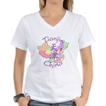 Tianjin China Map Women's V-Neck T-Shirt