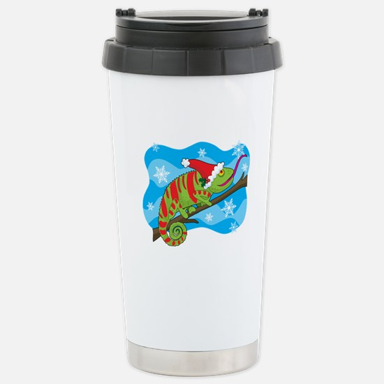 Christmas Chameleon Stainless Steel Travel Mug