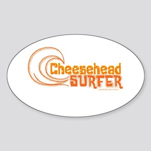 CheeseHead Surfer Wave Oval Sticker (10 pk)