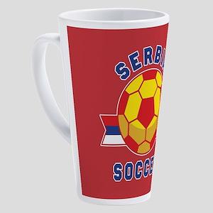 Serbia Soccer 17 oz Latte Mug