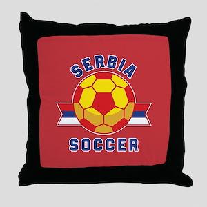 Serbia Soccer Throw Pillow