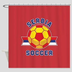 Serbia Soccer Shower Curtain