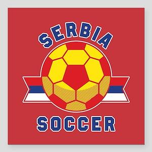 "Serbia Soccer Square Car Magnet 3"" x 3"""