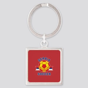 Serbia Soccer Square Keychain