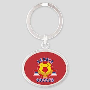 Serbia Soccer Oval Keychain