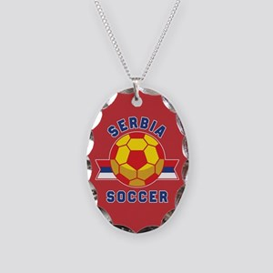 Serbia Soccer Necklace Oval Charm