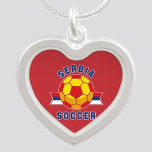 Serbia Soccer Silver Heart Necklace