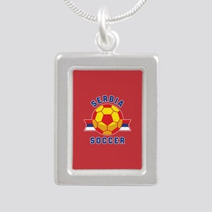 Serbia Soccer Silver Portrait Necklace