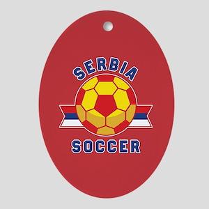 Serbia Soccer Oval Ornament