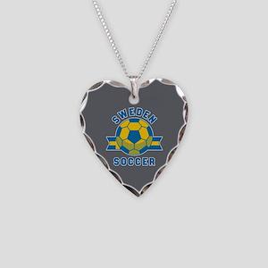 Sweden Soccer Necklace Heart Charm