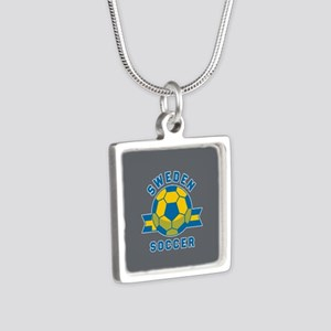 Sweden Soccer Silver Square Necklace