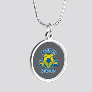 Sweden Soccer Silver Round Necklace