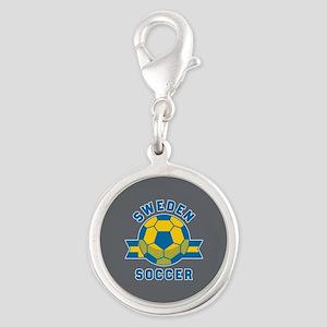 Sweden Soccer Silver Round Charm