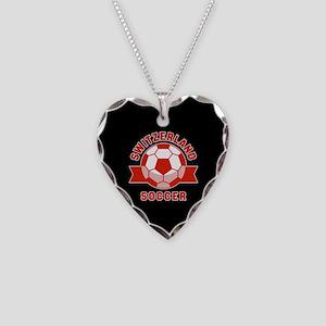 Switzerland Soccer Necklace Heart Charm