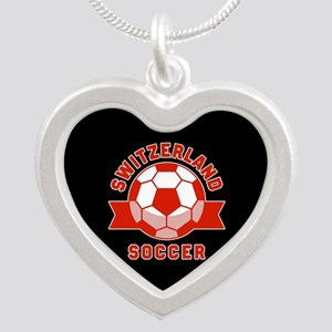 Switzerland Soccer Silver Heart Necklace