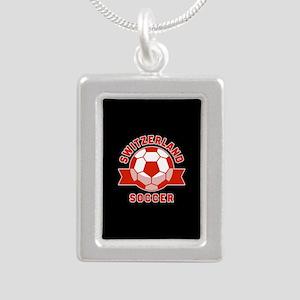 Switzerland Soccer Silver Portrait Necklace