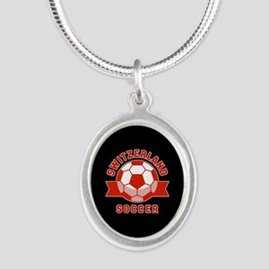 Switzerland Soccer Silver Oval Necklace