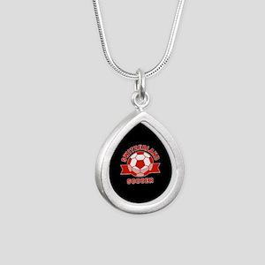 Switzerland Soccer Silver Teardrop Necklace