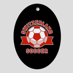 Switzerland Soccer Oval Ornament