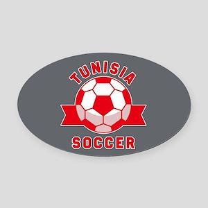 Tunisia Soccer Oval Car Magnet