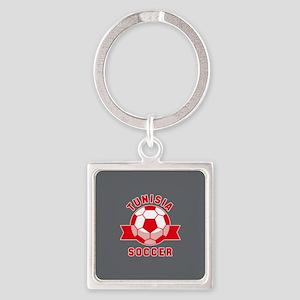 Tunisia Soccer Square Keychain