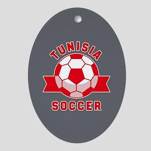 Tunisia Soccer Oval Ornament