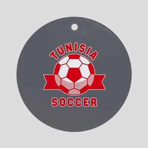 Tunisia Soccer Round Ornament