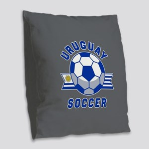 Uruguay Soccer Burlap Throw Pillow