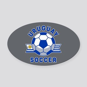 Uruguay Soccer Oval Car Magnet
