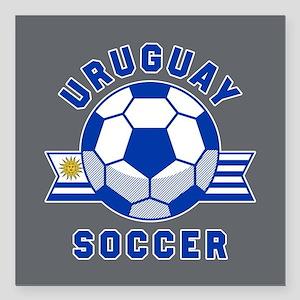 """Uruguay Soccer Square Car Magnet 3"""" x 3"""""""