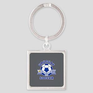 Uruguay Soccer Square Keychain
