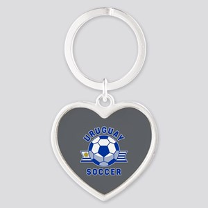 Uruguay Soccer Heart Keychain